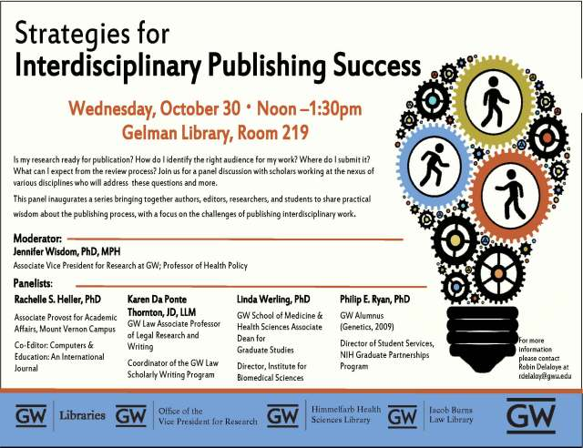 Wednesday, October 30 ・ Noon –1:30pm Gelman Library, Room 219